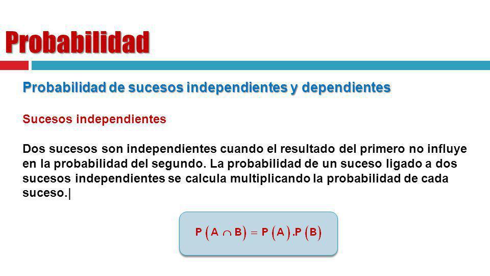 Probabilidad Probabilidad de sucesos independientes y dependientes Sucesos independientes Dos sucesos son independientes cuando el resultado del prime