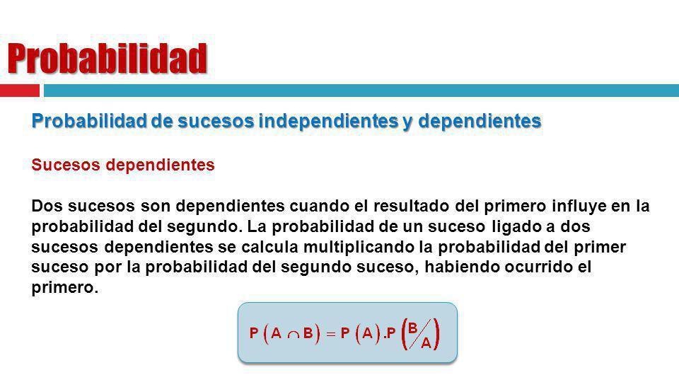 Probabilidad Probabilidad de sucesos independientes y dependientes Sucesos dependientes Dos sucesos son dependientes cuando el resultado del primero i