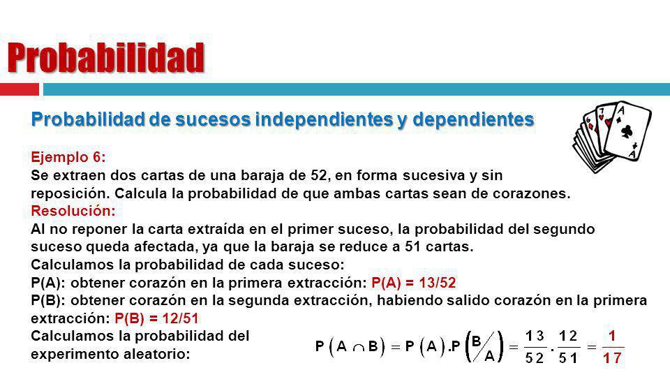 Probabilidad Probabilidad de sucesos independientes y dependientes Ejemplo 6: Se extraen dos cartas de una baraja de 52, en forma sucesiva y sin repos