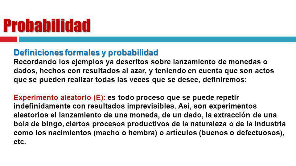 Probabilidad Definiciones formales y probabilidad Recordando los ejemplos ya descritos sobre lanzamiento de monedas o dados, hechos con resultados al