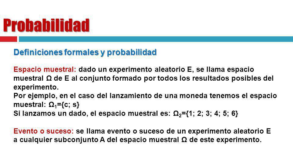 Probabilidad Definiciones formales y probabilidad Espacio muestral: dado un experimento aleatorio E, se llama espacio muestral Ω de E al conjunto form