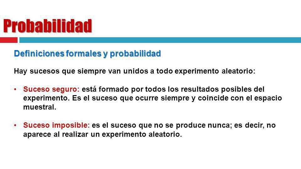 Probabilidad Definiciones formales y probabilidad Hay sucesos que siempre van unidos a todo experimento aleatorio: Suceso seguro: está formado por tod