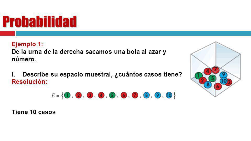 Probabilidad Ejemplo 1: De la urna de la derecha sacamos una bola al azar y anotamos su número. I.Describe su espacio muestral, ¿cuántos casos tiene?