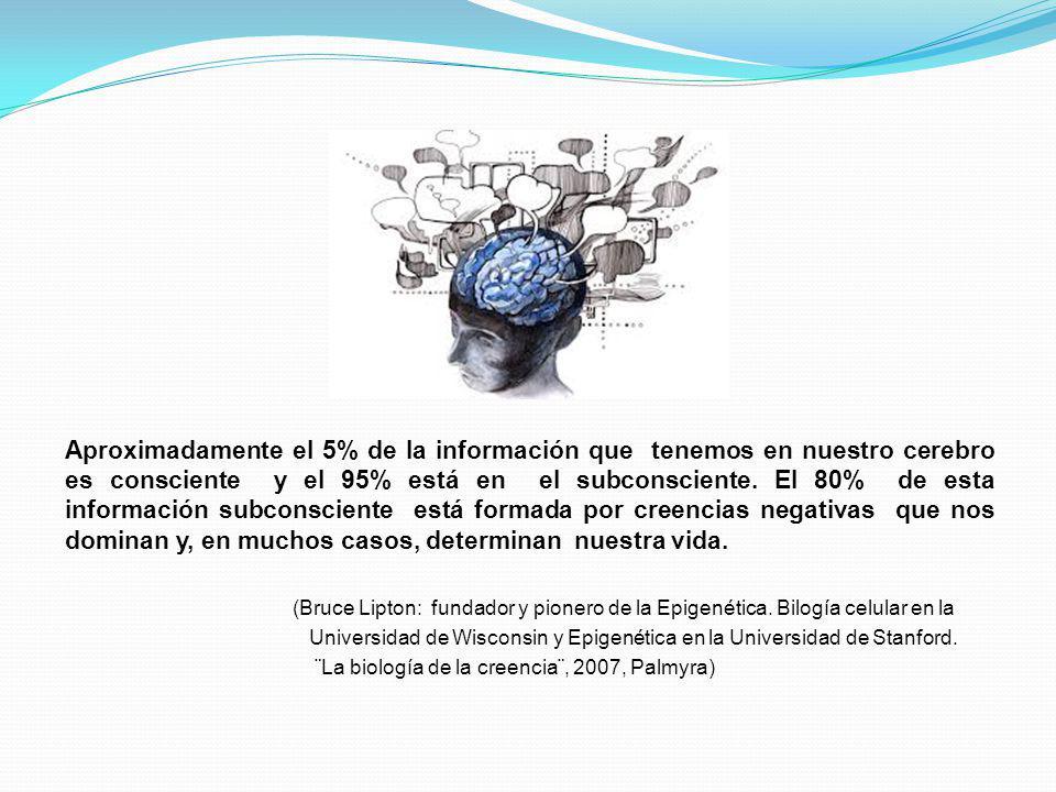 Aproximadamente el 5% de la información que tenemos en nuestro cerebro es consciente y el 95% está en el subconsciente. El 80% de esta información sub