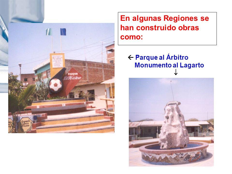 En algunas Regiones se han construido obras como: Parque al Árbitro Monumento al Lagarto