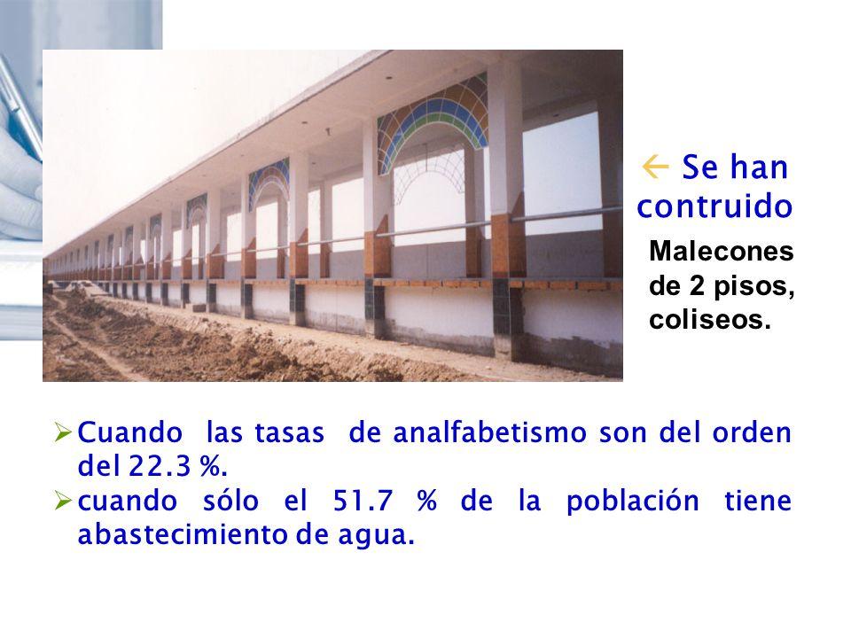 Se han contruido Cuando las tasas de analfabetismo son del orden del 22.3 %. cuando sólo el 51.7 % de la población tiene abastecimiento de agua. Malec