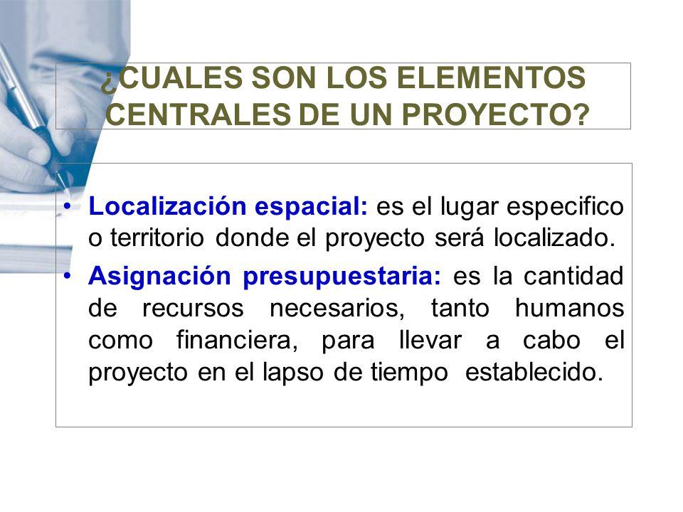 ¿CUALES SON LOS ELEMENTOS CENTRALES DE UN PROYECTO? Localización espacial: es el lugar especifico o territorio donde el proyecto será localizado. Asig