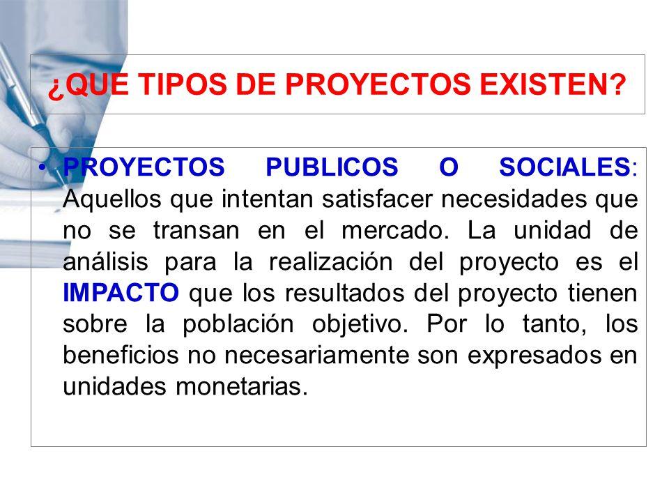 PROYECTOS PUBLICOS O SOCIALES: Aquellos que intentan satisfacer necesidades que no se transan en el mercado. La unidad de análisis para la realización