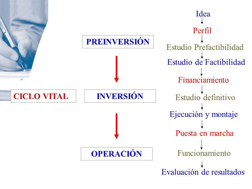CICLO VITAL PREINVERSIÓN INVERSIÓN OPERACIÓN Idea Perfil Estudio Prefactibilidad Estudio de Factibilidad Financiamiento Estudio definitivo Ejecución y