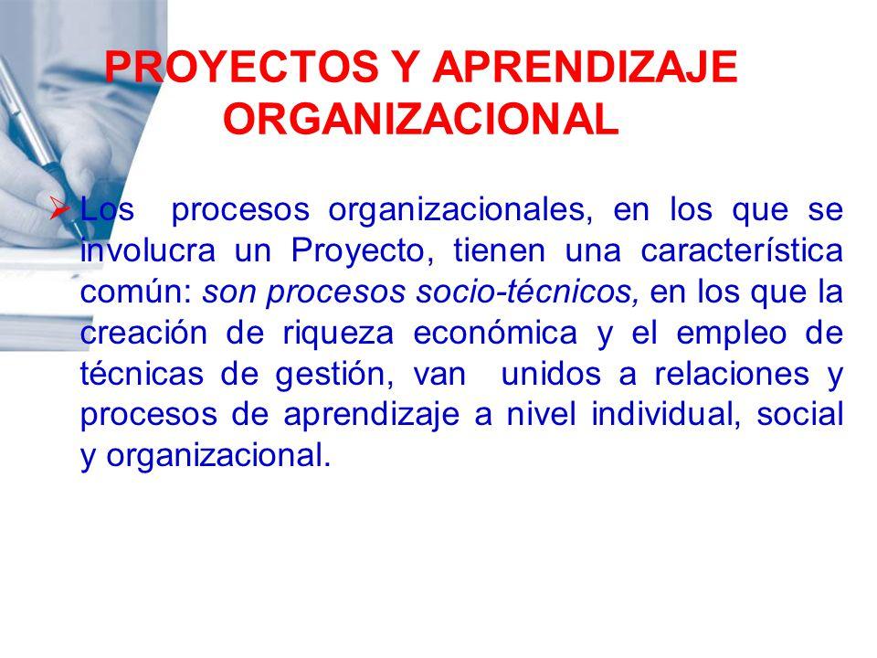 PROYECTOS Y APRENDIZAJE ORGANIZACIONAL Los procesos organizacionales, en los que se involucra un Proyecto, tienen una característica común: son proces