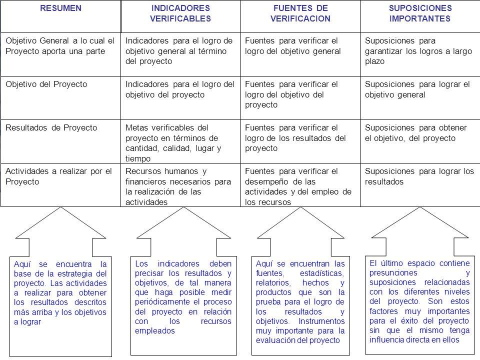 INDICADORES VERIFICABLES Objetivo General a lo cual el Proyecto aporta una parte Indicadores para el logro de objetivo general al término del proyecto