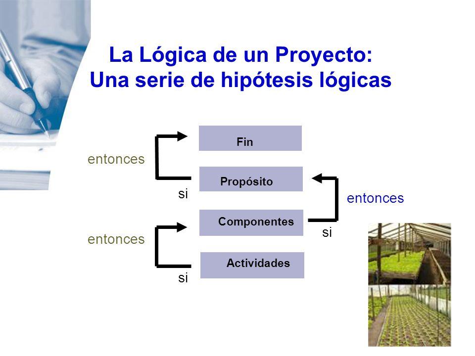 entonces La Lógica de un Proyecto: Una serie de hipótesis lógicas Fin Propósito Componentes Actividades entonces si entonces si