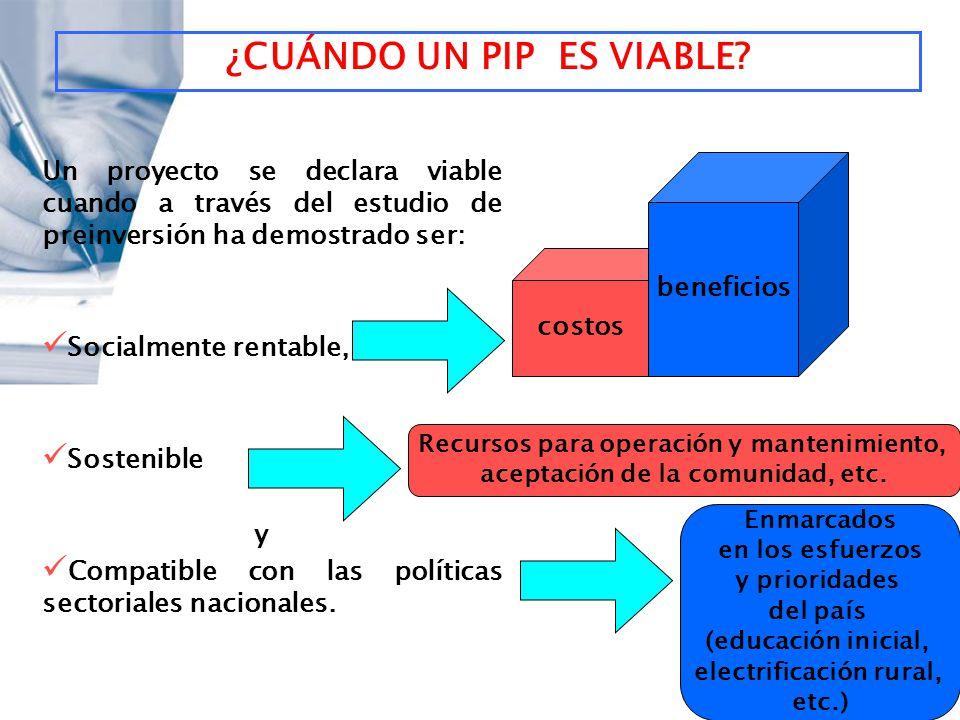 ¿CUÁNDO UN PIP ES VIABLE? Un proyecto se declara viable cuando a través del estudio de preinversión ha demostrado ser: Socialmente rentable, Sostenibl