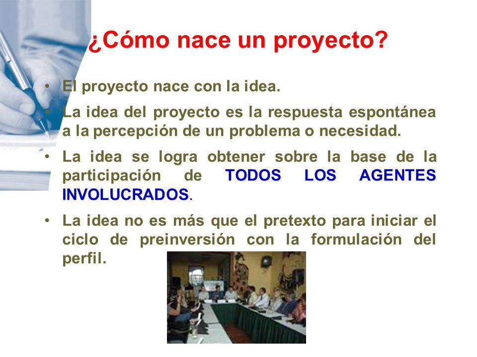 El proyecto nace con la idea. La idea del proyecto es la respuesta espontánea a la percepción de un problema o necesidad. La idea se logra obtener sob
