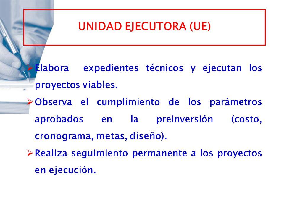 UNIDAD EJECUTORA (UE) Elabora expedientes técnicos y ejecutan los proyectos viables. Observa el cumplimiento de los parámetros aprobados en la preinve
