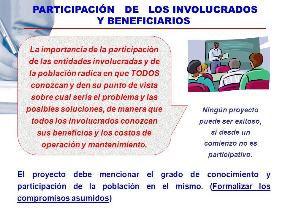 PARTICIPACIÓN DE LOS INVOLUCRADOS Y BENEFICIARIOS Ningún proyecto puede ser exitoso, si desde un comienzo no es participativo. El proyecto debe mencio
