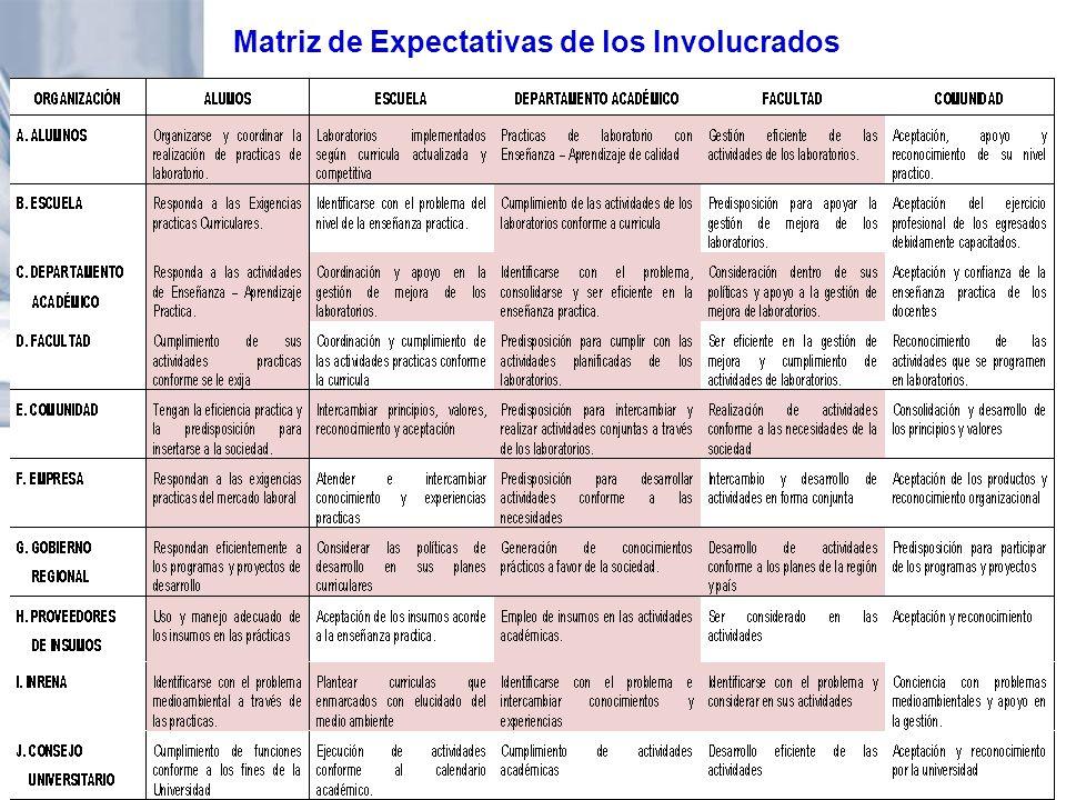 Matriz de Expectativas de los Involucrados