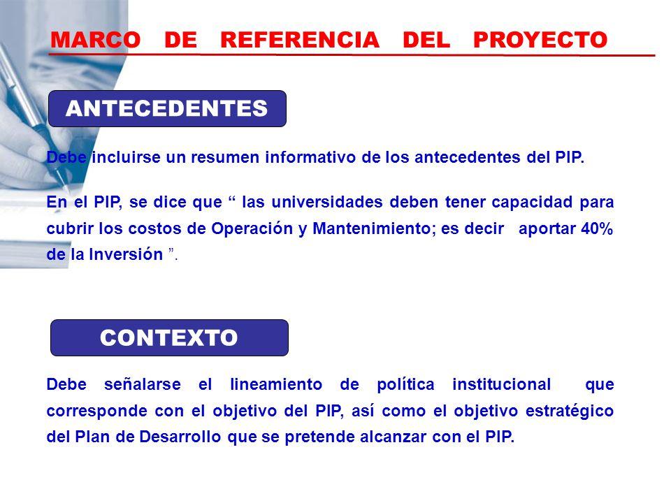 MARCO DE REFERENCIA DEL PROYECTO Debe incluirse un resumen informativo de los antecedentes del PIP. ANTECEDENTES CONTEXTO Debe señalarse el lineamient