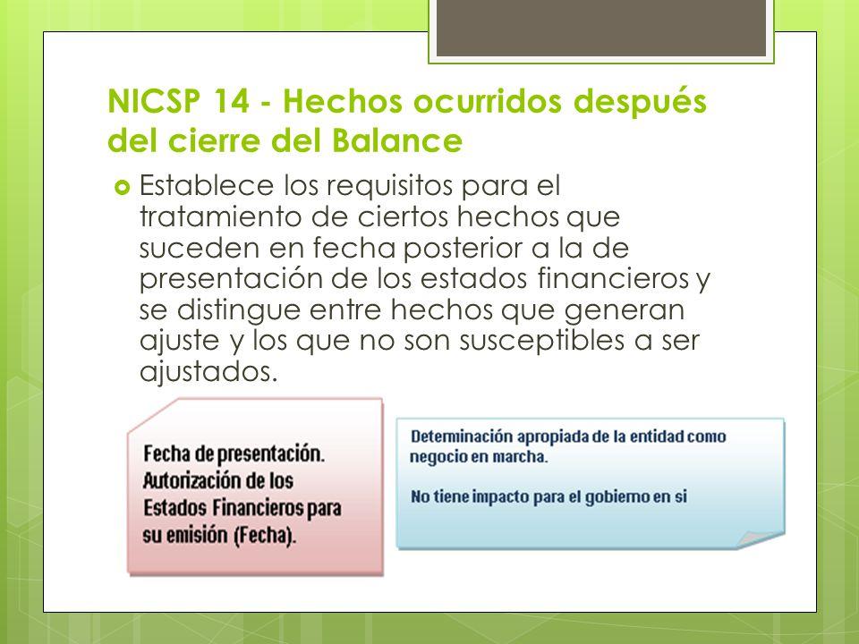NICSP 14 - Hechos ocurridos después del cierre del Balance Establece los requisitos para el tratamiento de ciertos hechos que suceden en fecha posteri
