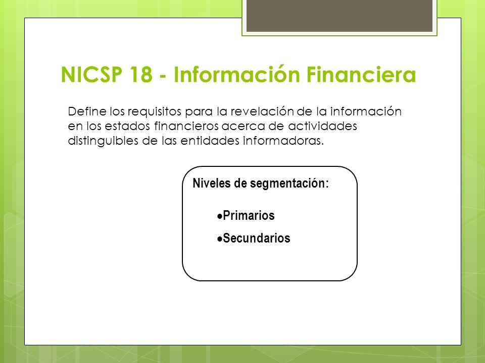 NICSP 18 - Información Financiera Define los requisitos para la revelación de la información en los estados financieros acerca de actividades distingu