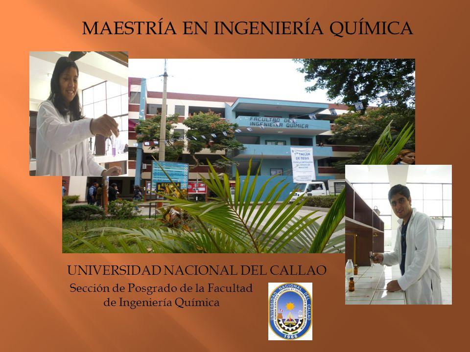 MAESTRÍA EN INGENIERÍA QUÍMICA UNIVERSIDAD NACIONAL DEL CALLAO Sección de Posgrado de la Facultad de Ingeniería Química