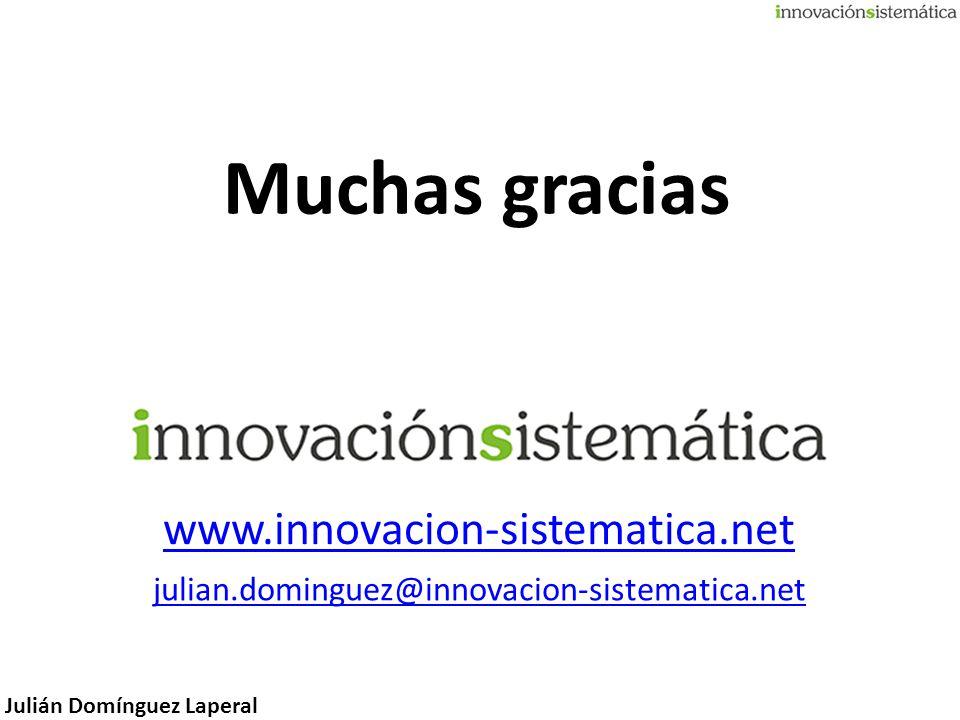 Julián Domínguez Laperal Muchas gracias www.innovacion-sistematica.net julian.dominguez@innovacion-sistematica.net