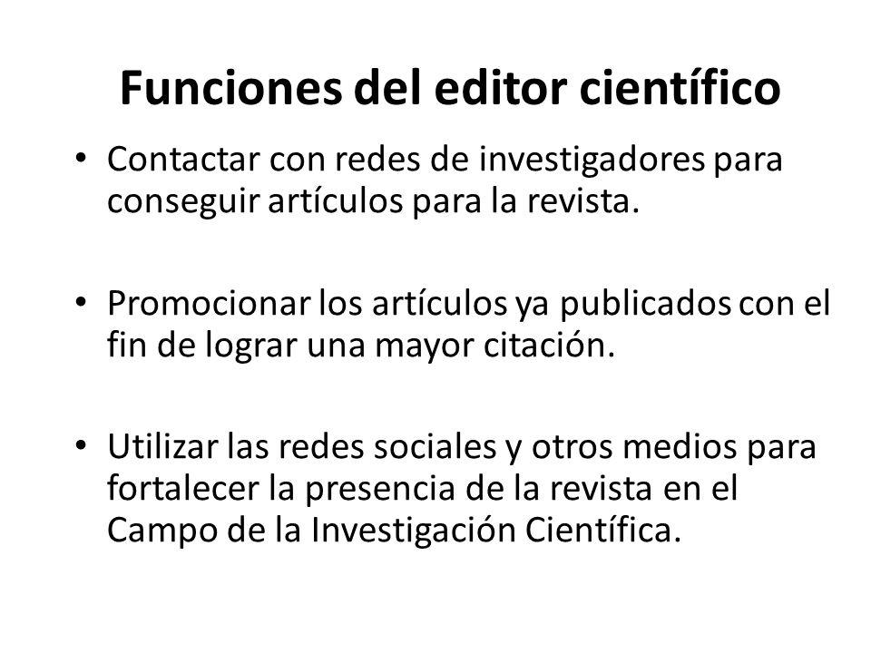 Funciones del editor científico Buscar lectores potenciales.