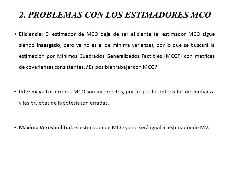 4.POSIBLES SOLUCIONES 1. Estimar por MCO, pero hacer inferencia utilizando la matriz de White.