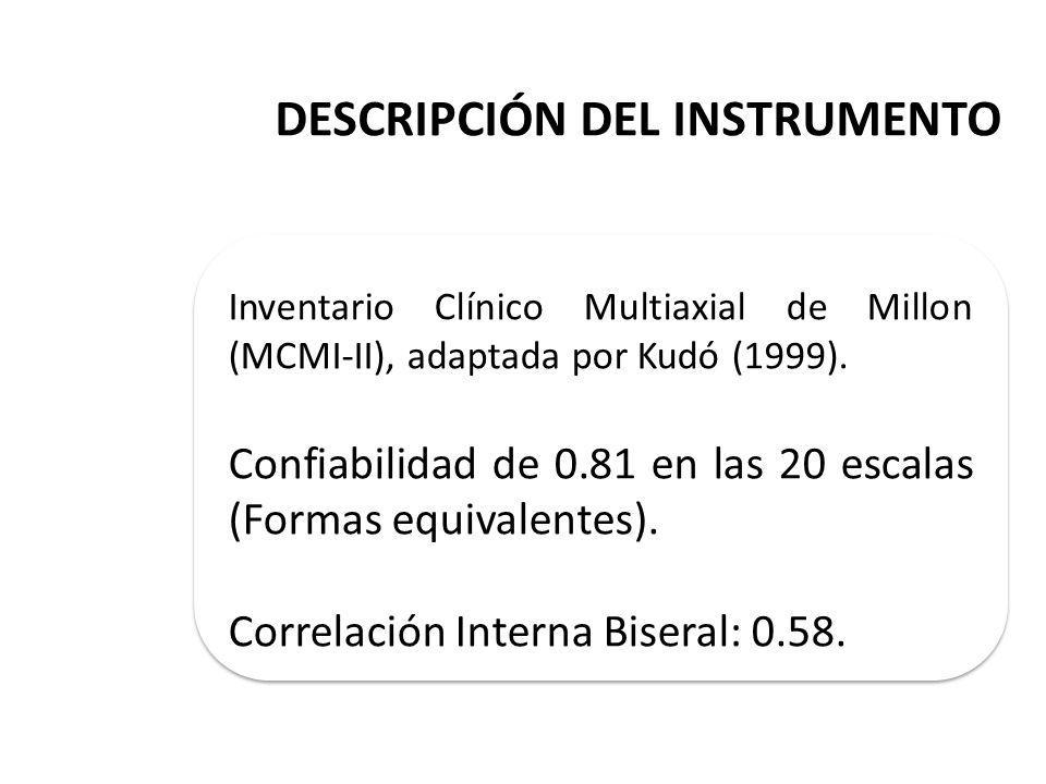 DESCRIPCIÓN DEL INSTRUMENTO Inventario Clínico Multiaxial de Millon (MCMI-II), adaptada por Kudó (1999).