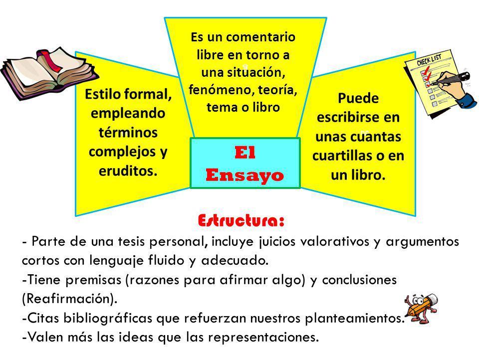 g g Estructura: - Parte de una tesis personal, incluye juicios valorativos y argumentos cortos con lenguaje fluido y adecuado.