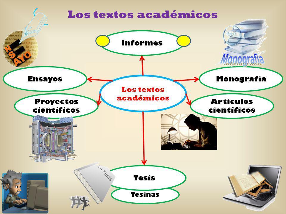 Tesinas Los textos académicos Artículos científicos Ensayos Proyectos científicos Monografía Tesis Informes