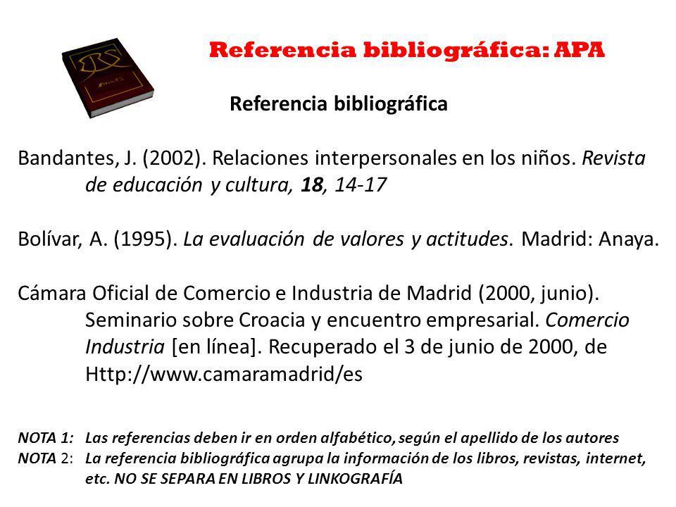 Referencia bibliográfica: APA Referencia bibliográfica Bandantes, J.