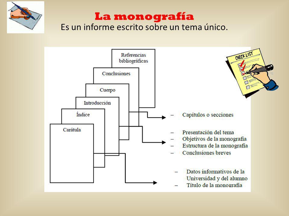 La monografía Es un informe escrito sobre un tema único.