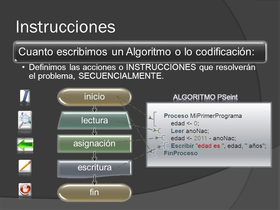 Instrucciones asignación lectura escritura fininicio Proceso MiPrimerPrograma edad <- 0; Leer anoNac; edad <- 2011 - anoNac; Escribir