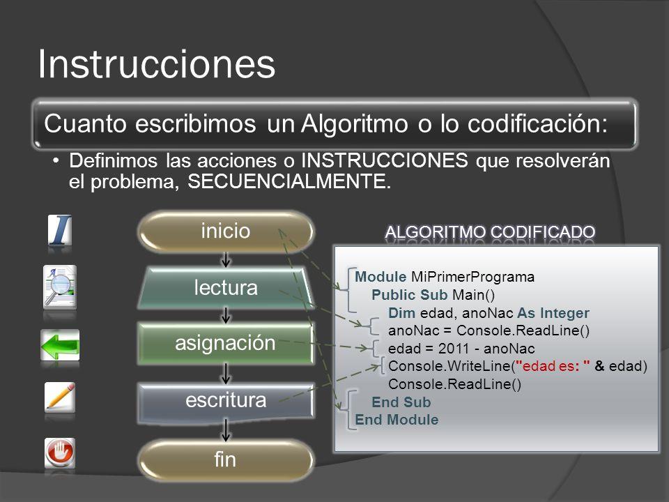 Instrucciones asignación lectura escritura fininicio Module MiPrimerPrograma Public Sub Main() Dim edad, anoNac As Integer anoNac = Console.ReadLine() edad = 2011 - anoNac Console.WriteLine( edad es: & edad) Console.ReadLine() End Sub End Module Cuanto escribimos un Algoritmo o lo codificación: Definimos las acciones o INSTRUCCIONES que resolverán el problema, SECUENCIALMENTE.