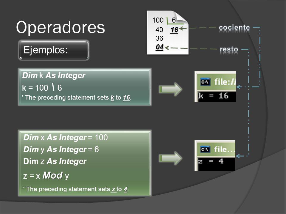 Operadores Ejemplos: Dim x As Integer = 100 Dim y As Integer = 6 Dim z As Integer Mod z = x Mod y 4 The preceding statement sets z to 4.