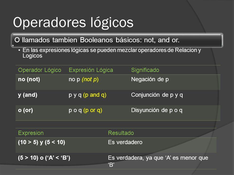 Operadores lógicos O llamados tambien Booleanos básicos: not, and or. En las expresiones lógicas se pueden mezclar operadores de Relacion y Logicos Op