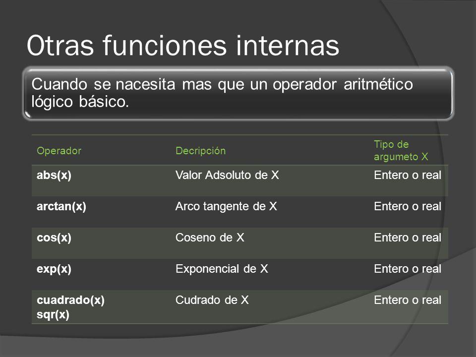 Otras funciones internas OperadorDecripción Tipo de argumeto X abs(x)Valor Adsoluto de XEntero o real arctan(x)Arco tangente de XEntero o real cos(x)C