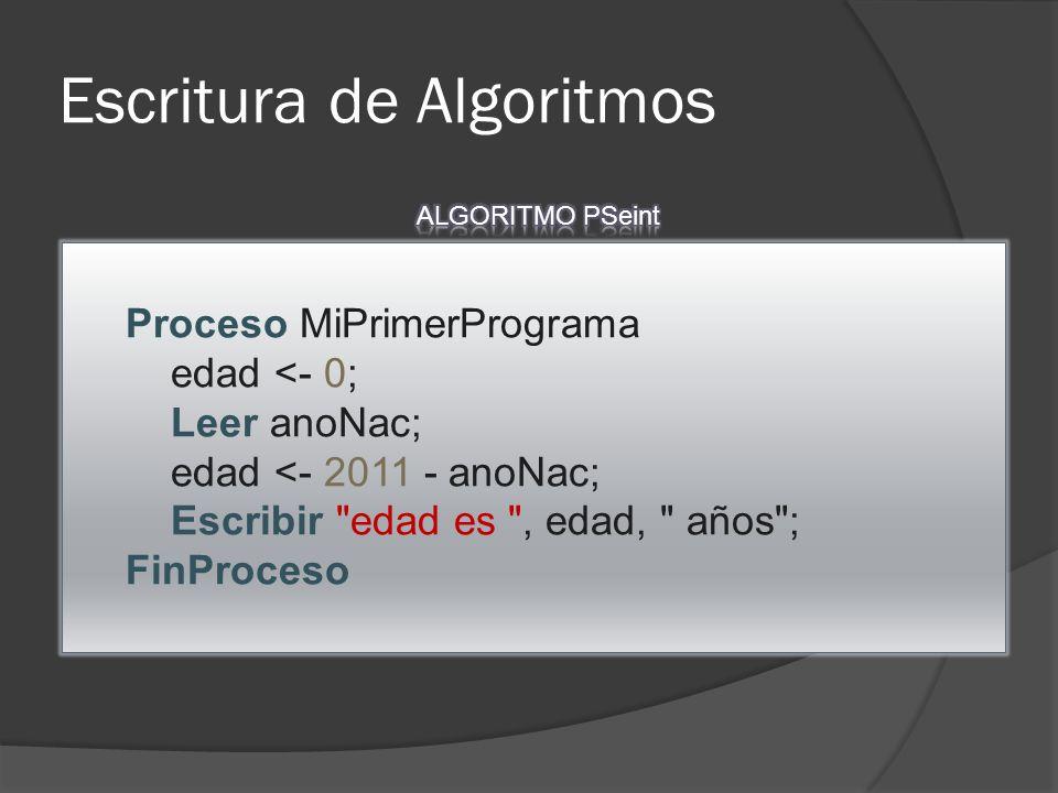 Escritura de Algoritmos Proceso MiPrimerPrograma edad <- 0; Leer anoNac; edad <- 2011 - anoNac; Escribir edad es , edad, años ; FinProceso