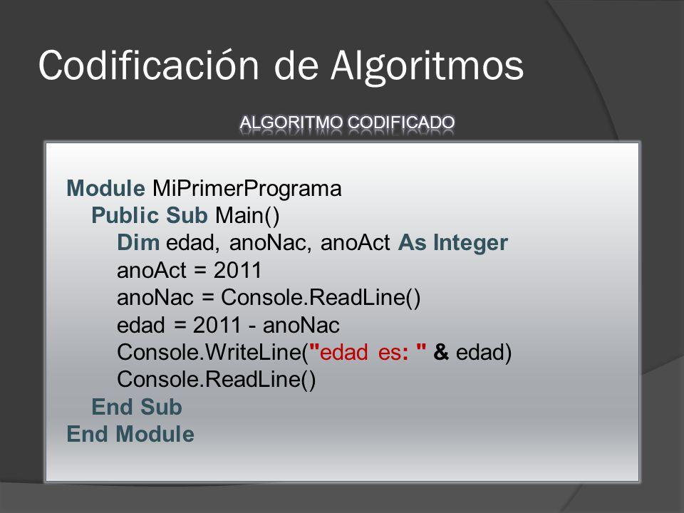 Codificación de Algoritmos Module MiPrimerPrograma Public Sub Main() Dim edad, anoNac, anoAct As Integer anoAct = 2011 anoNac = Console.ReadLine() edad = 2011 - anoNac Console.WriteLine( edad es: & edad) Console.ReadLine() End Sub End Module