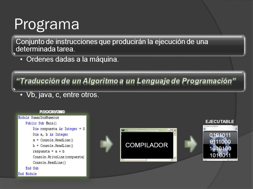 Programa Conjunto de instrucciones que producirán la ejecución de una determinada tarea. Ordenes dadas a la máquina. Vb, java, c, entre otros. COMPILA