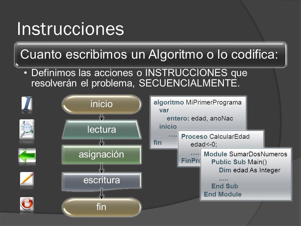 Instrucciones Cuanto escribimos un Algoritmo o lo codifica: Definimos las acciones o INSTRUCCIONES que resolverán el problema, SECUENCIALMENTE. asigna
