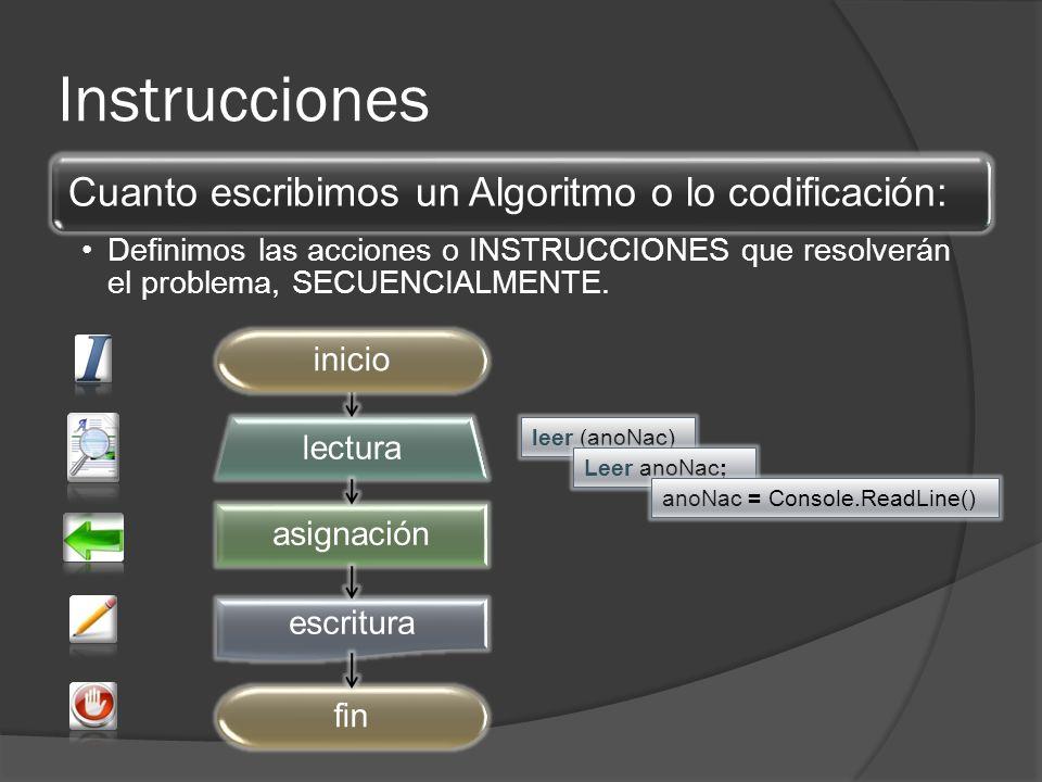 Instrucciones asignación lectura escritura fininicio leer (anoNac) Leer anoNac; anoNac = Console.ReadLine() Cuanto escribimos un Algoritmo o lo codificación: Definimos las acciones o INSTRUCCIONES que resolverán el problema, SECUENCIALMENTE.
