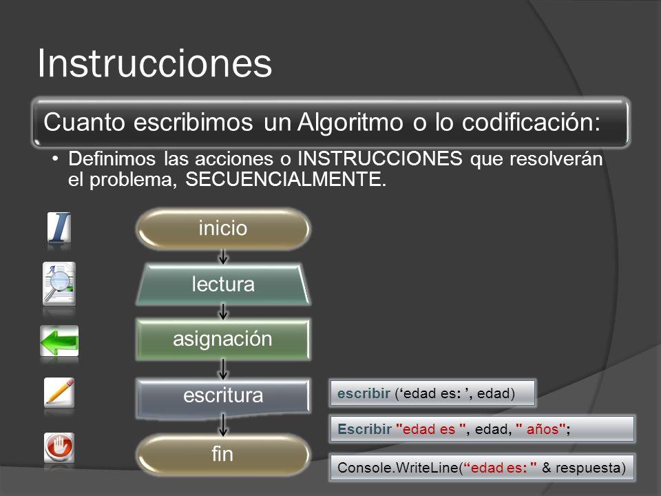 Instrucciones asignación lectura escritura fininicio escribir (edad es:, edad) Console.WriteLine(edad es: