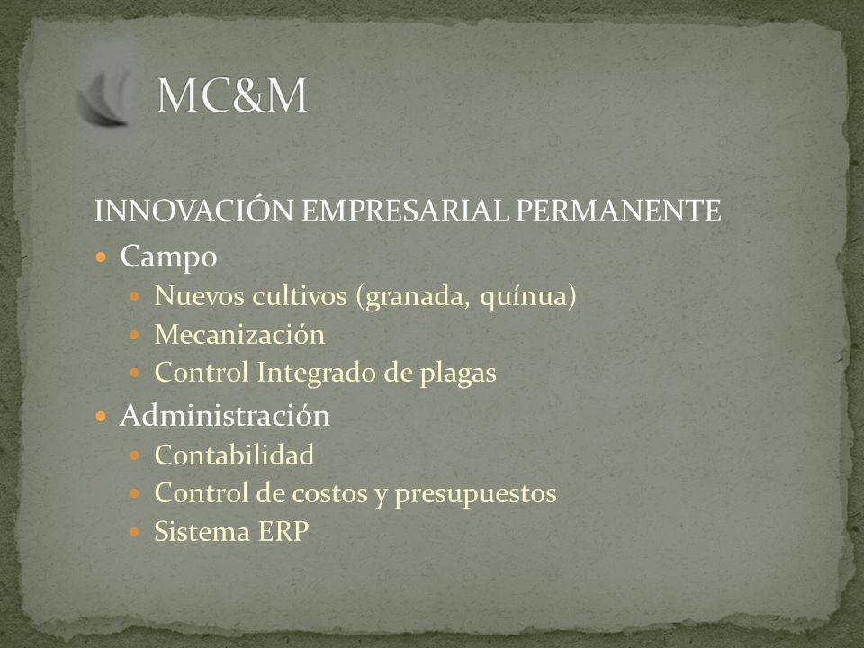 INNOVACIÓN EMPRESARIAL PERMANENTE Campo Nuevos cultivos (granada, quínua) Mecanización Control Integrado de plagas Administración Contabilidad Control de costos y presupuestos Sistema ERP