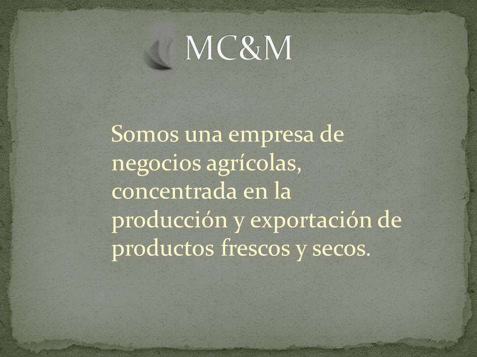Somos una empresa de negocios agrícolas, concentrada en la producción y exportación de productos frescos y secos.