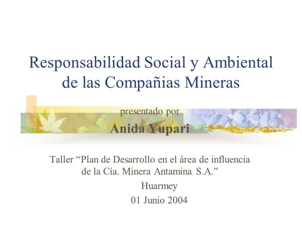 Responsabilidad Social y Ambiental de las Compañias Mineras presentado por Anida Yupari Taller Plan de Desarrollo en el área de influencia de la Cía.