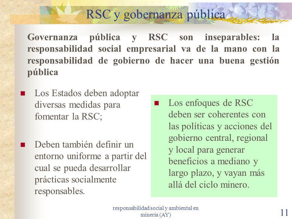 responsabilidad social y ambiental en minería (AY) 11 RSC y gobernanza pública Los Estados deben adoptar diversas medidas para fomentar la RSC; Deben