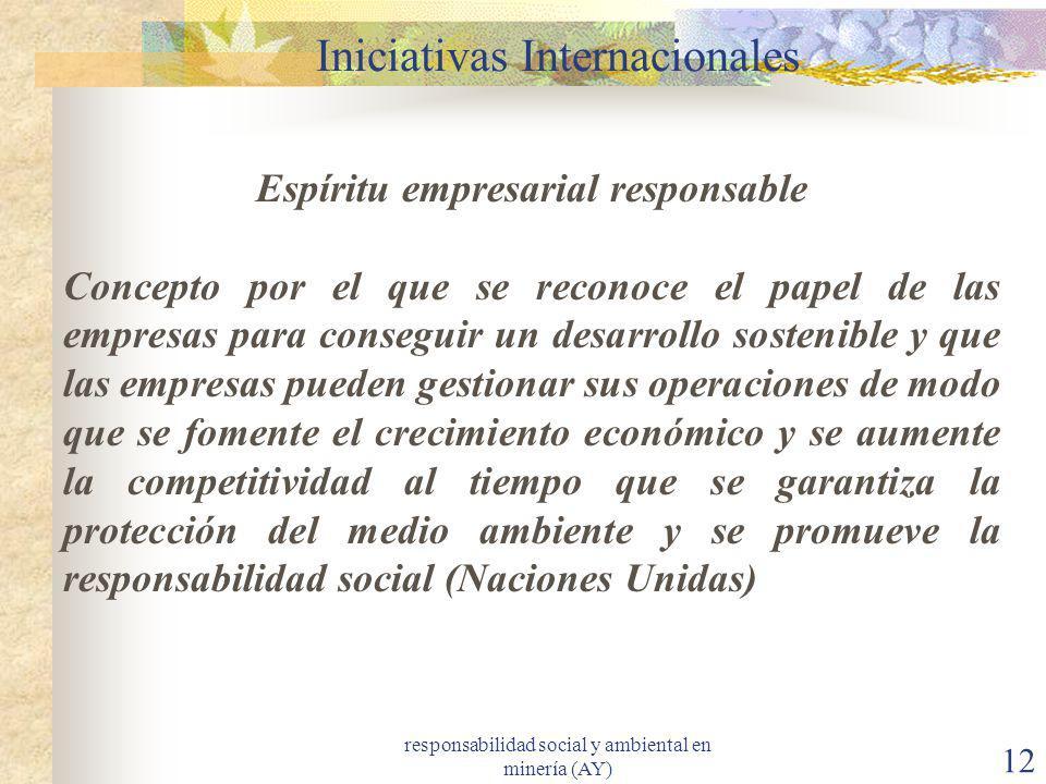 responsabilidad social y ambiental en minería (AY) 12 Iniciativas Internacionales Espíritu empresarial responsable Concepto por el que se reconoce el