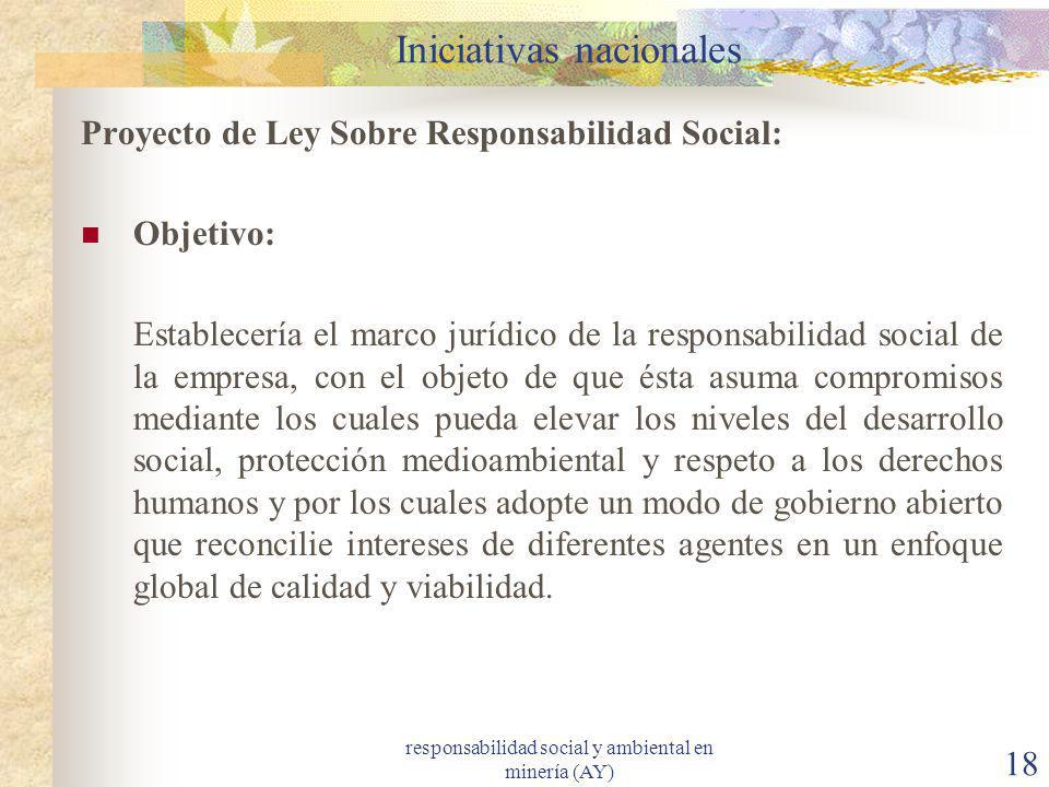 responsabilidad social y ambiental en minería (AY) 18 Iniciativas nacionales Proyecto de Ley Sobre Responsabilidad Social: Objetivo: Establecería el m